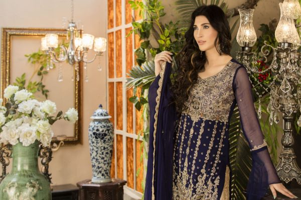 Buy Exclusive Navy Blue And Beige Dress – G15477 Online In USA, Uk & Pakistan - 03