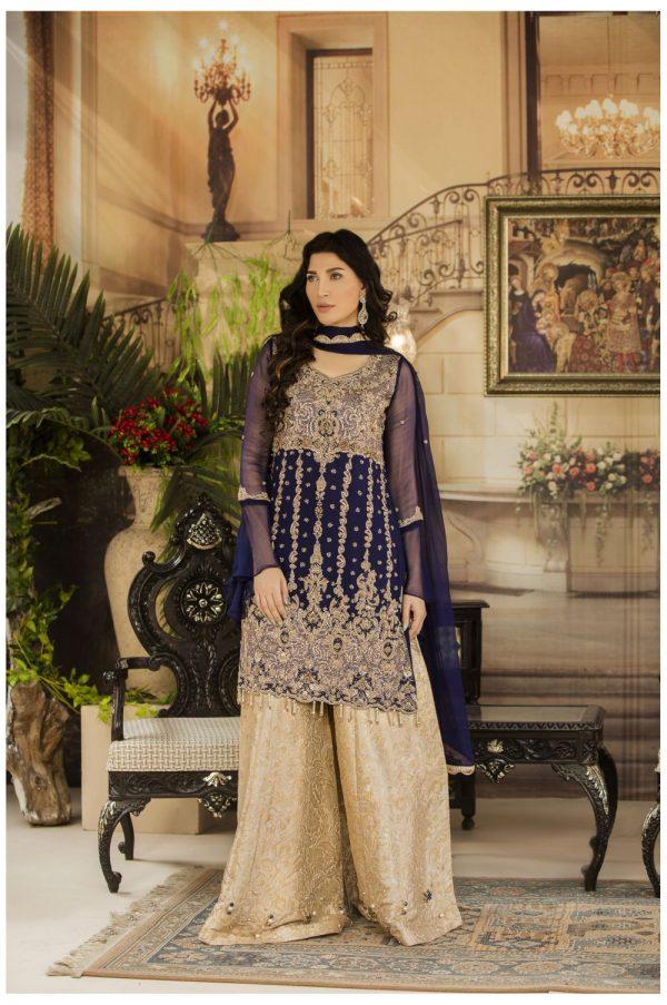 Buy Exclusive Navy Blue And Beige Dress – G15477 Online In USA, Uk & Pakistan - 01