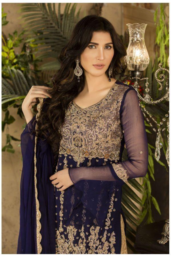 Buy Exclusive Navy Blue And Beige Dress – G15477 Online In USA, Uk & Pakistan - 02