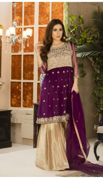 Buy Exclusive Purple And Dull Gold Dress – G15499 Online In USA, Uk & Pakistan - 04