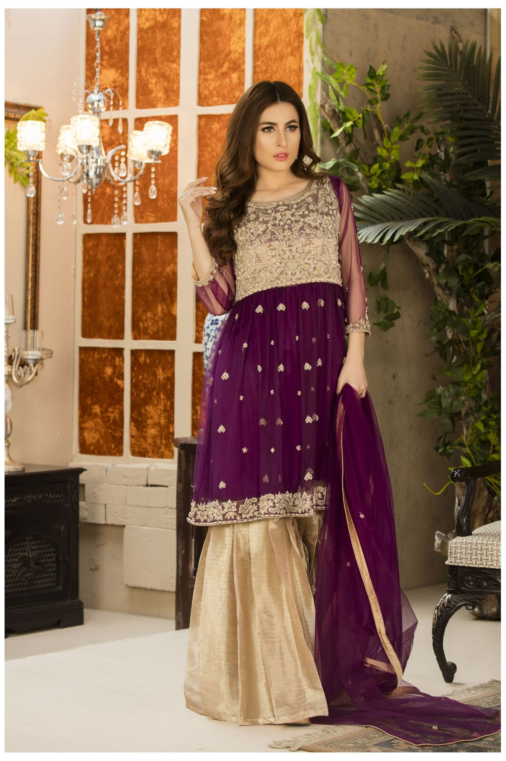 EXCLUSIVE PURPLE AND DULL GOLD DRESS G15499 Exclusive Online