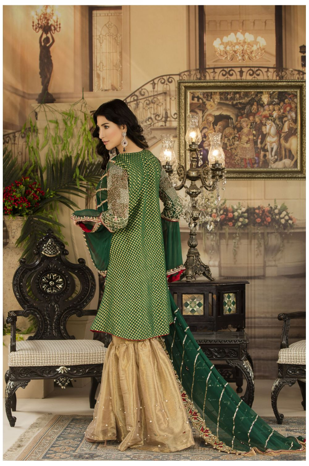 Buy Exclusive Bottle Green And Gold Dress – Sabd04 Online In USA, Uk & Pakistan