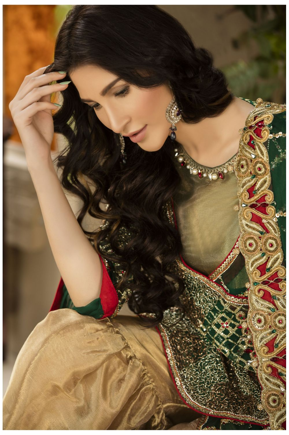 Buy Exclusive Bottle Green And Gold Dress – Sabd04 Online In USA, Uk & Pakistan - 01