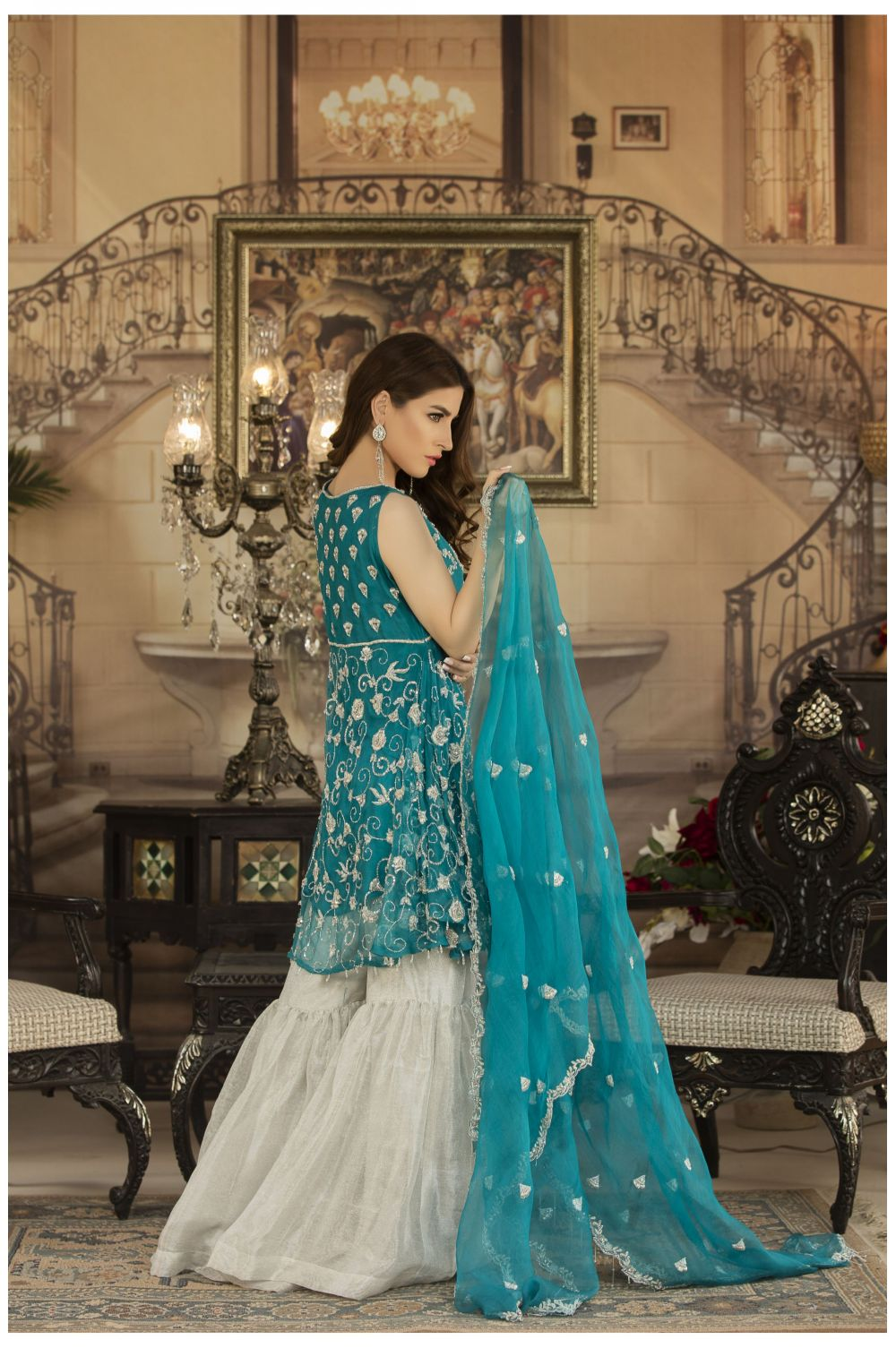 Buy Exclusive See Green And Silver Dress – Sdbd03 Online In USA, Uk & Pakistan - 01