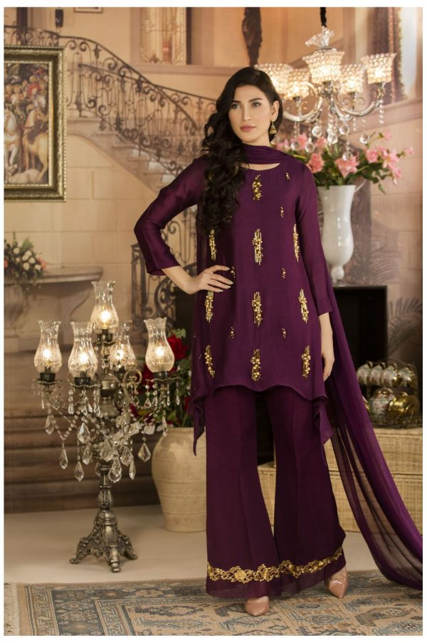 Buy Exclusive Deep Purple Luxury Pret Dress – Sds17 Online In USA, Uk & Pakistan