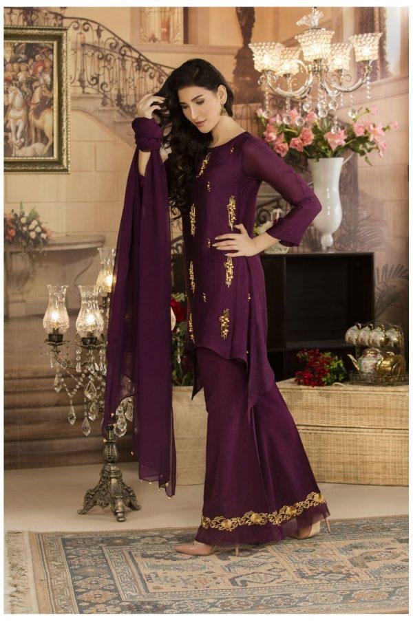 Buy Exclusive Deep Purple Luxury Pret Dress – Sds17 Online In USA, Uk & Pakistan - 03