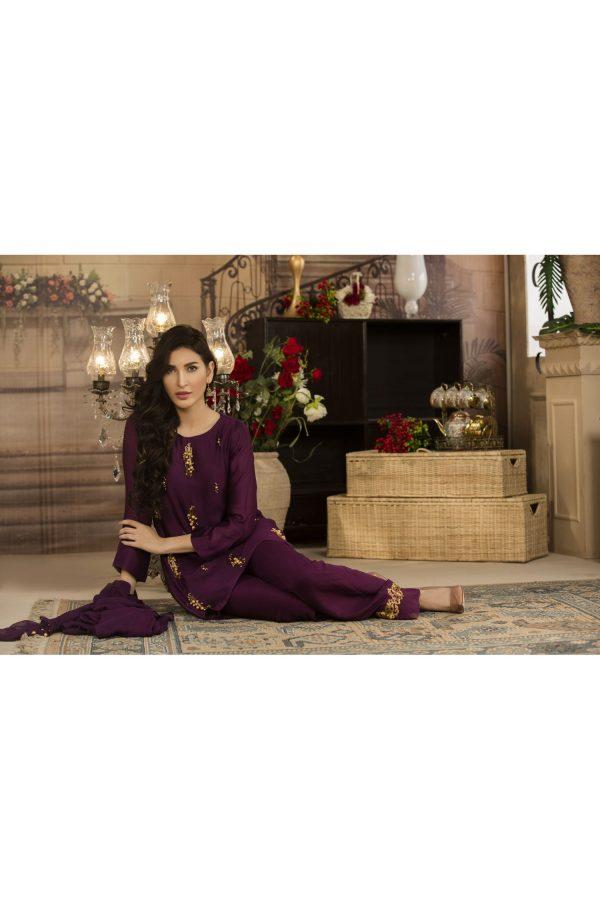 Buy Exclusive Deep Purple Luxury Pret Dress – Sds17 Online In USA, Uk & Pakistan - 01