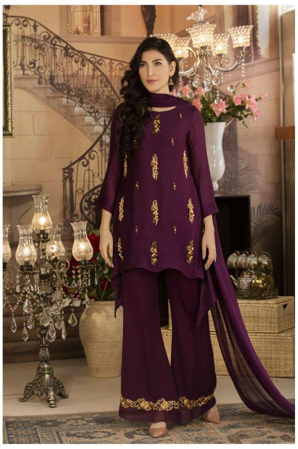 Buy Exclusive Deep Purple Luxury Pret Dress – Sds17 Online In USA, Uk & Pakistan - 02
