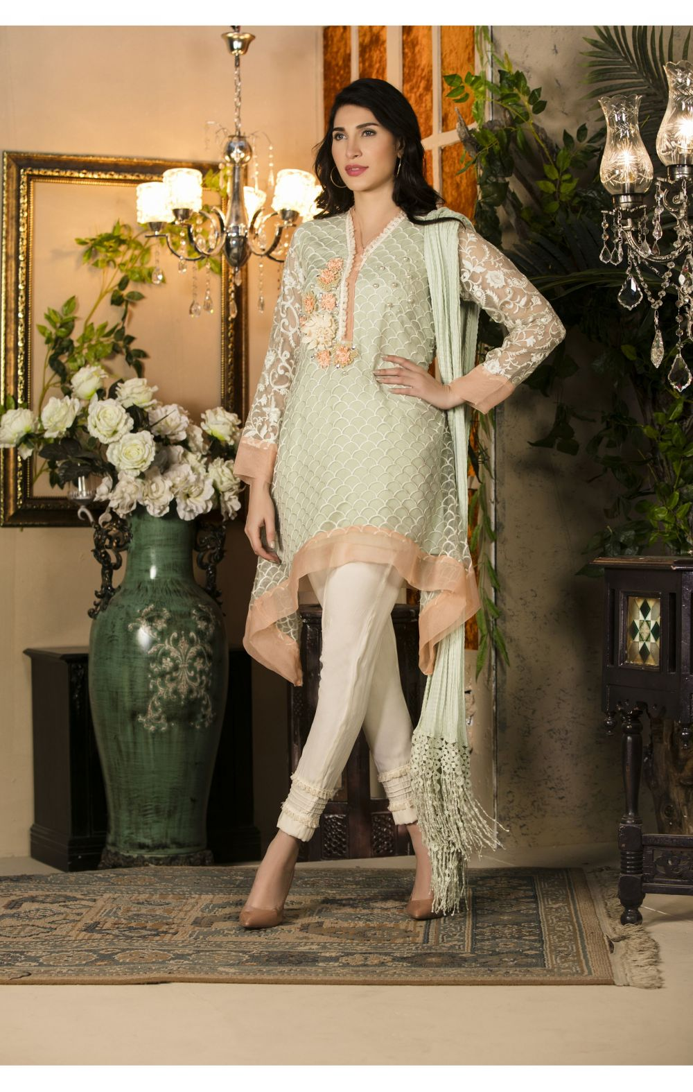 324aa459d EXCLUSIVE PISTACHIO GREEN AND OFF WHITE COLOR PARTY WEAR - SAC2226 ...