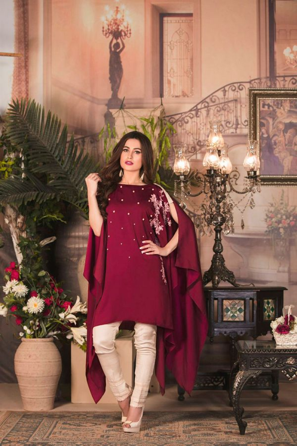 Buy Exclusive Maroon And Off-White Color Casual Wear – Sac2235 Online In USA, Uk & Pakistan - 02