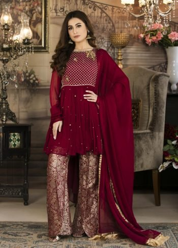 Buy Exclusive Maroon Color Luxury Pret – Sas682 Online In USA, Uk & Pakistan - 03
