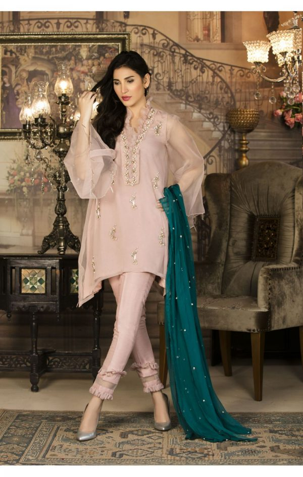 Buy Exclusive Pink And Sea Green Color Luxury Pret – Sds34 Online In USA, Uk & Pakistan - 02