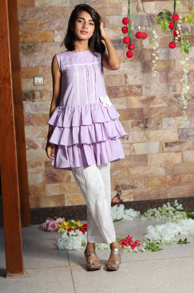 15dd37725c7f EXCLUSIVE LIGHT PURPLE AND WHITE GIRLS DRESS - CSDC12 - Exclusive ...