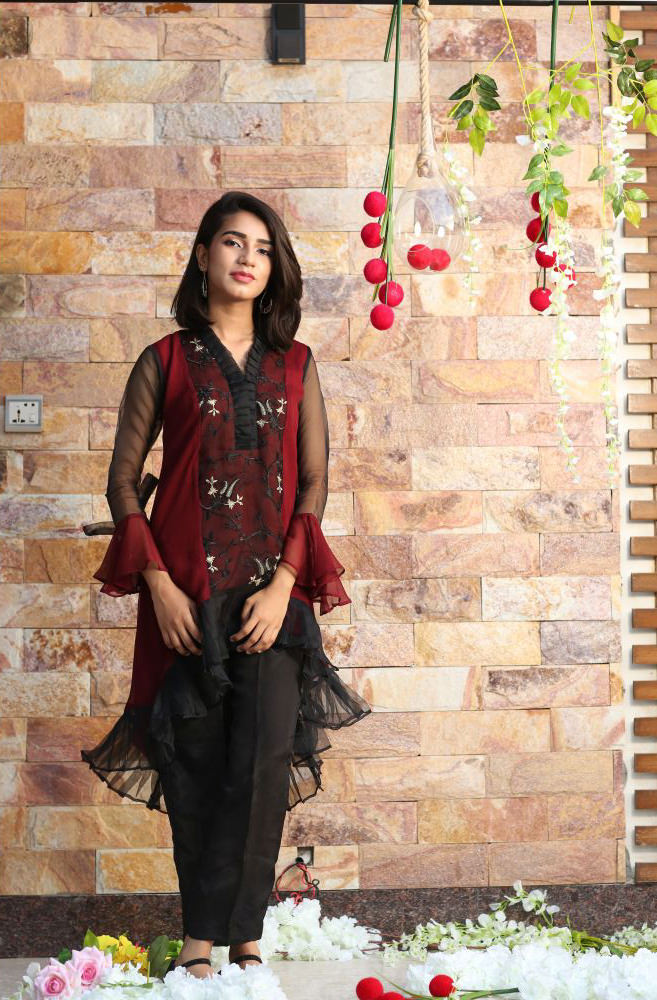 8f21e1dd37e3 EXCLUSIVE BLACK AND MAROON GIRLS DRESS - CZZS49 - Exclusive Online ...