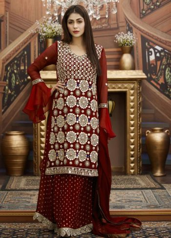 Buy Exclusive Maroon Bridal Wear – G15173 Online In USA, Uk & Pakistan