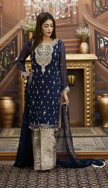 Buy Exclusive Navy Blue And Steel Grey Bridal Wear – G15813 Online In USA, Uk & Pakistan