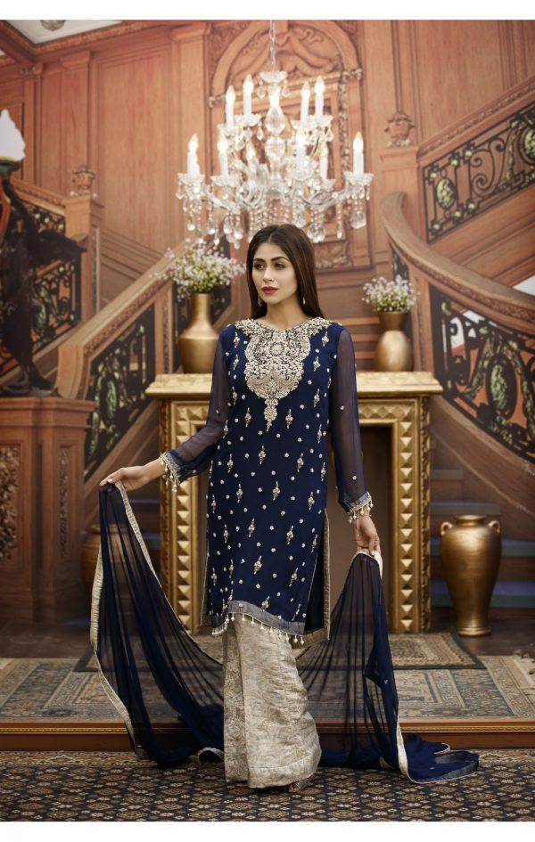 Buy Exclusive Navy Blue And Steel Grey Bridal Wear – G15813 Online In USA, Uk & Pakistan - 01