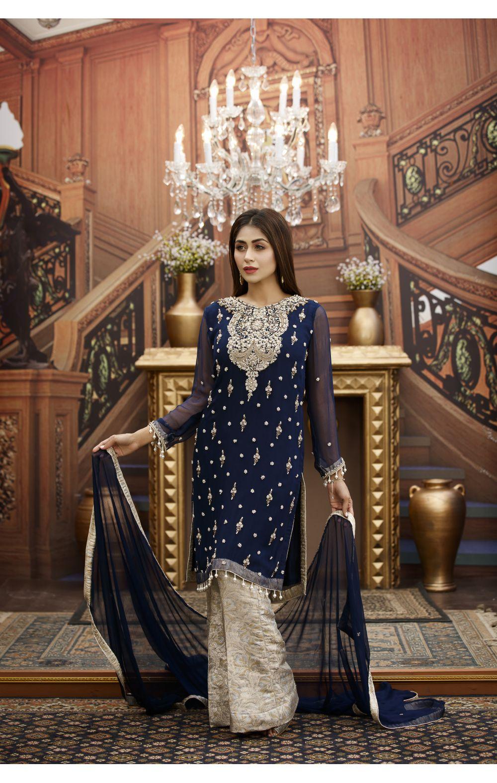 Buy Exclusive Navy Blue And Steel Grey Bridal Wear – G15813 Online In USA, Uk & Pakistan - 01