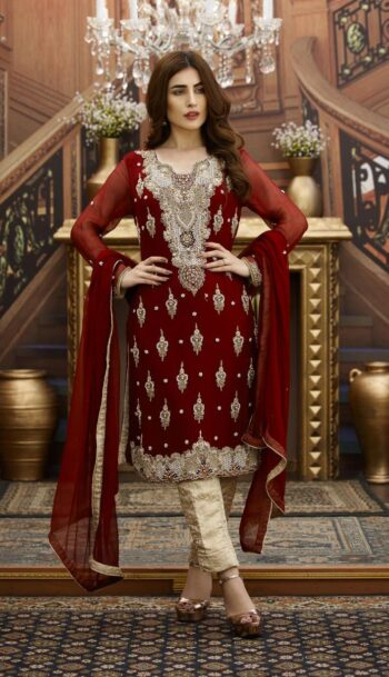 Buy Exclusive Maroon And Golden Bridal Wear – G16229 Online In USA, Uk & Pakistan