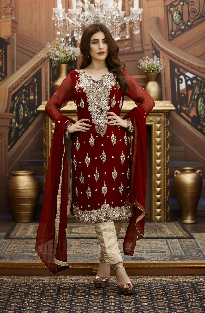 f352f45b12 EXCLUSIVE MAROON AND GOLDEN BRIDAL WEAR - G16229 - Exclusive Online ...