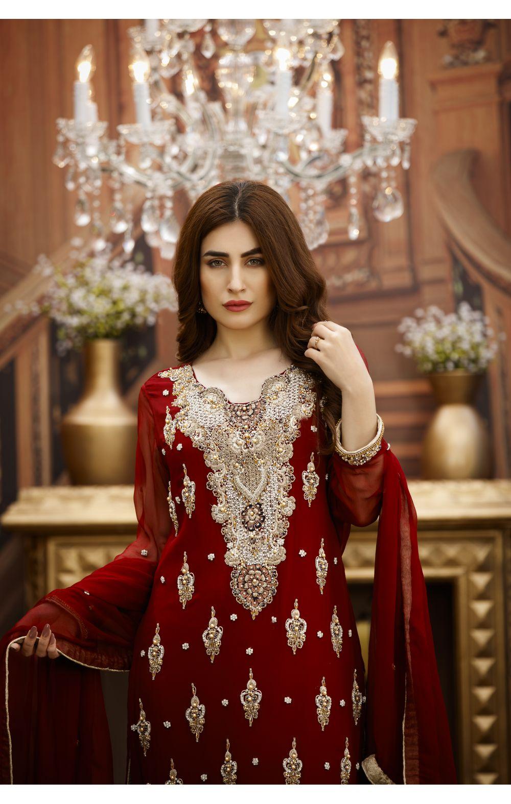 Buy Exclusive Maroon And Golden Bridal Wear – G16229 Online In USA, Uk & Pakistan - 02