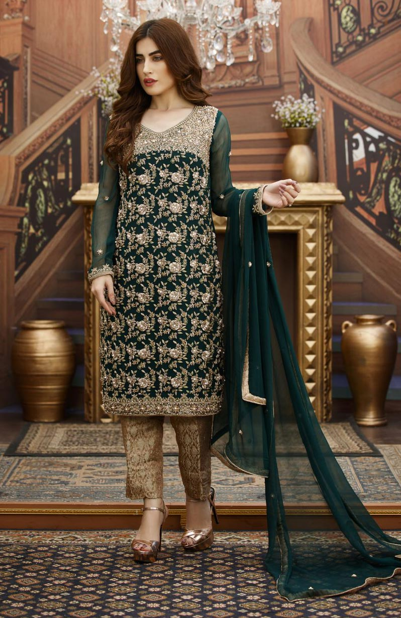 EXCLUSIVE BOTTLE GREEN AND FONE BRIDAL DRESS - G16347 ...
