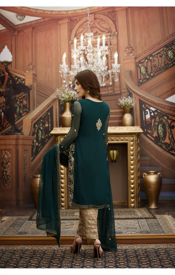 Buy Exclusive Bottle Green And Fone Bridal Dress – G16347 Online In USA, Uk & Pakistan - 02