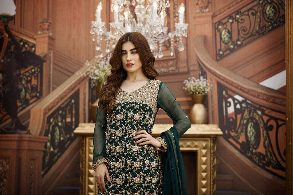 Buy Exclusive Bottle Green And Fone Bridal Dress – G16347 Online In USA, Uk & Pakistan - 03