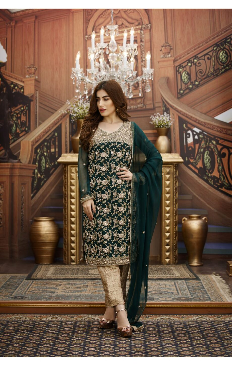 Buy Exclusive Bottle Green And Fone Bridal Dress – G16347 Online In USA, Uk & Pakistan - 01