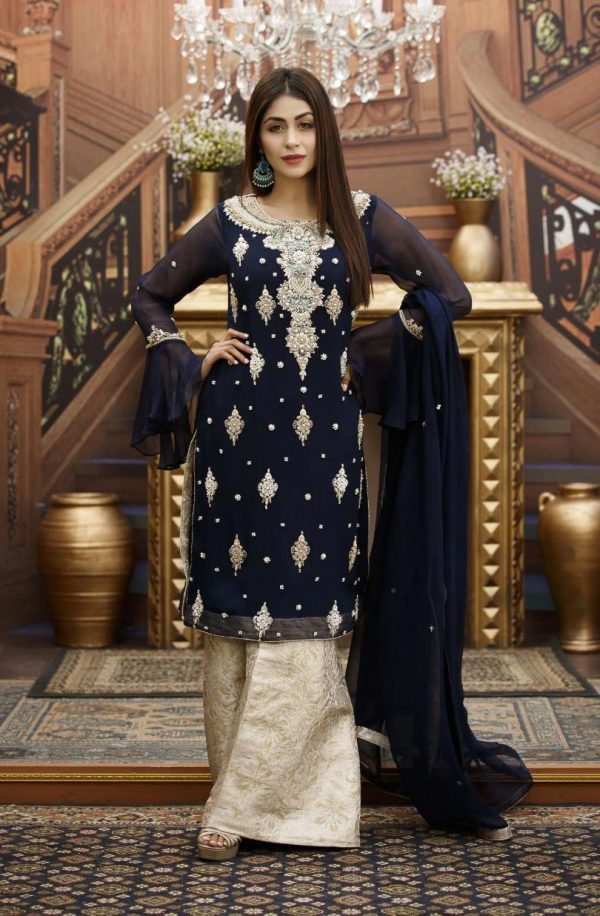 Buy Exclusive Navy Blue And Fone Bridal Wear – G16459 Online In USA, Uk & Pakistan
