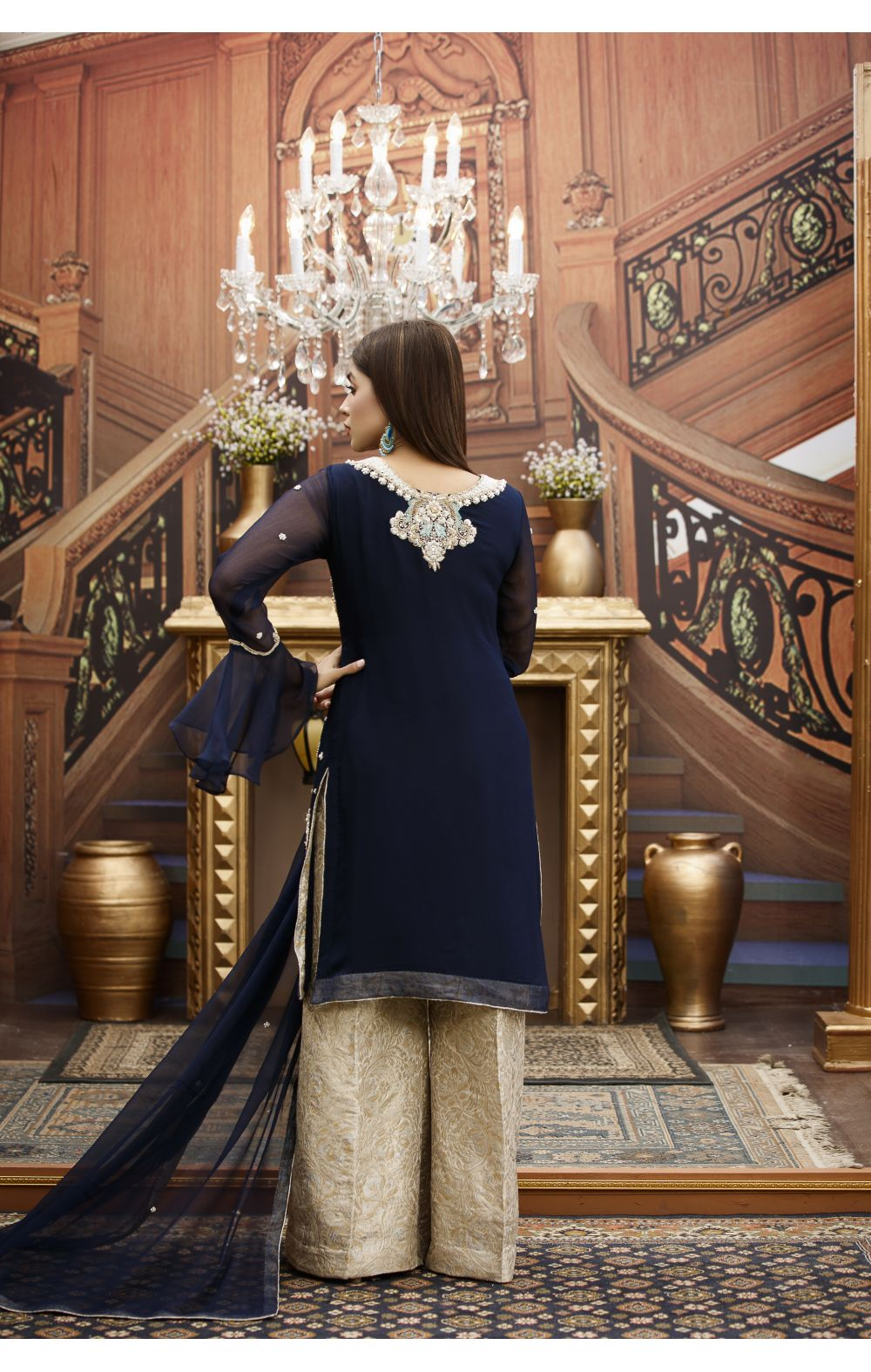 Buy Exclusive Navy Blue And Fone Bridal Wear – G16459 Online In USA, Uk & Pakistan - 03