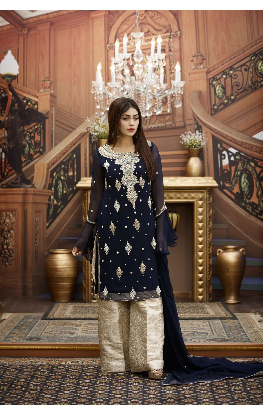 Buy Exclusive Navy Blue And Fone Bridal Wear – G16459 Online In USA, Uk & Pakistan - 01