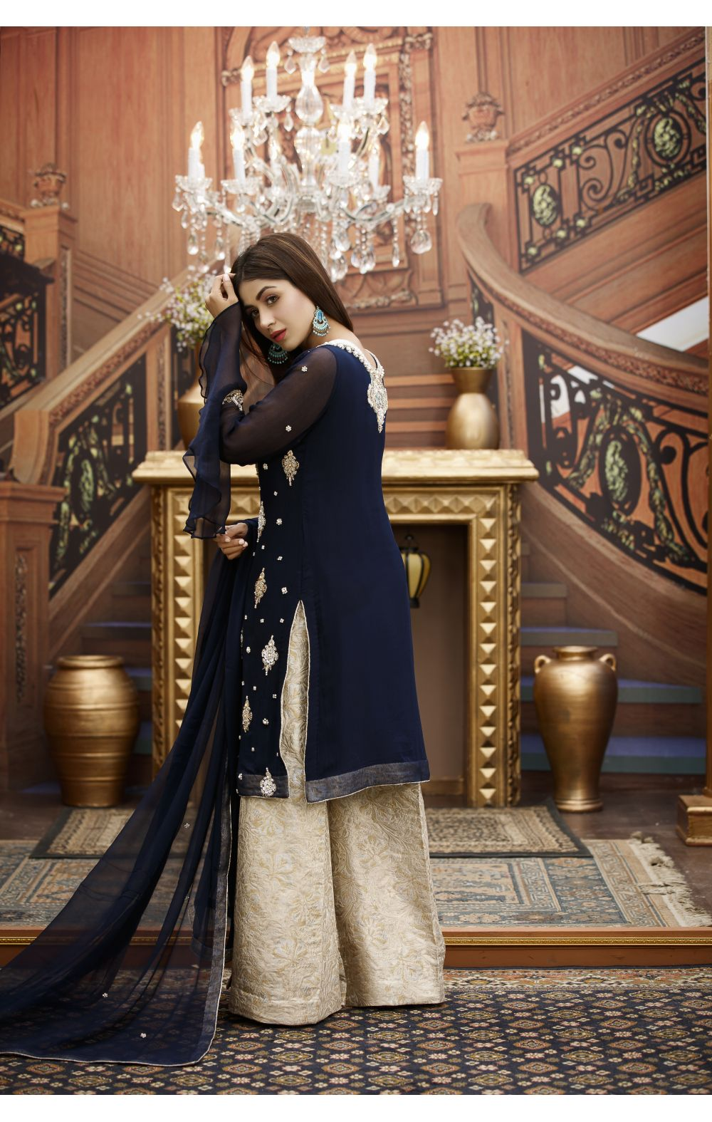 Buy Exclusive Navy Blue And Fone Bridal Wear – G16459 Online In USA, Uk & Pakistan - 02