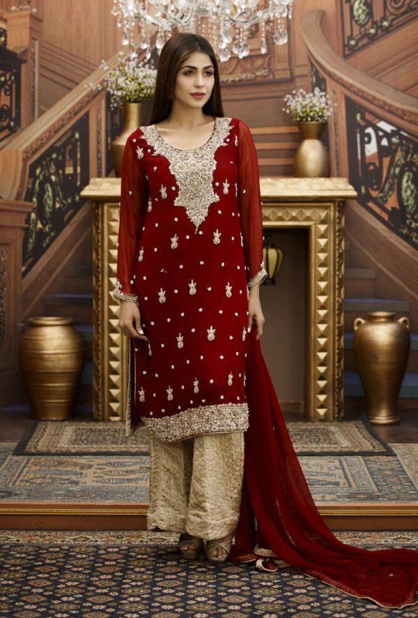 Buy Exclusive Maroon And Golden Bridal Wear – G16464 Online In USA, Uk & Pakistan