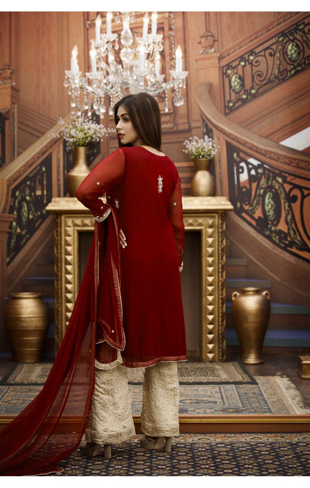 Buy Exclusive Maroon And Golden Bridal Wear – G16464 Online In USA, Uk & Pakistan - 03