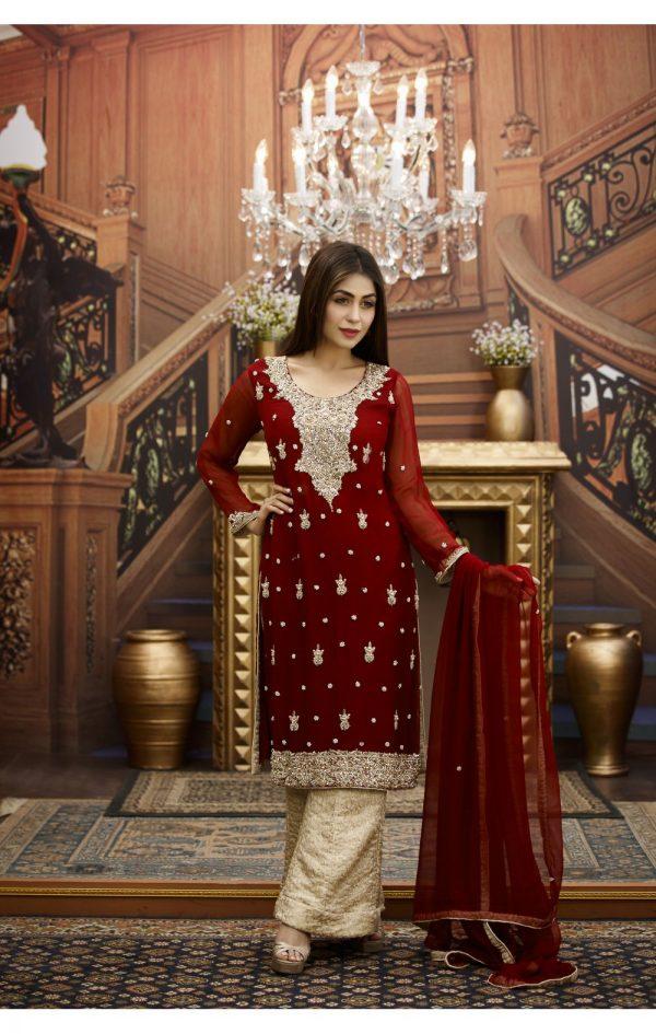 Buy Exclusive Maroon And Golden Bridal Wear – G16464 Online In USA, Uk & Pakistan - 01