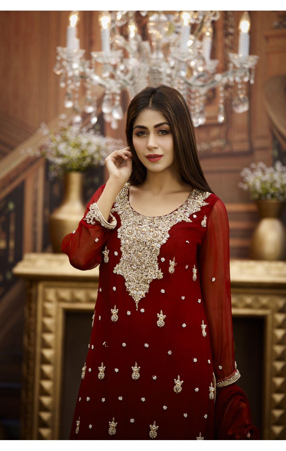 Buy Exclusive Maroon And Golden Bridal Wear – G16464 Online In USA, Uk & Pakistan - 02