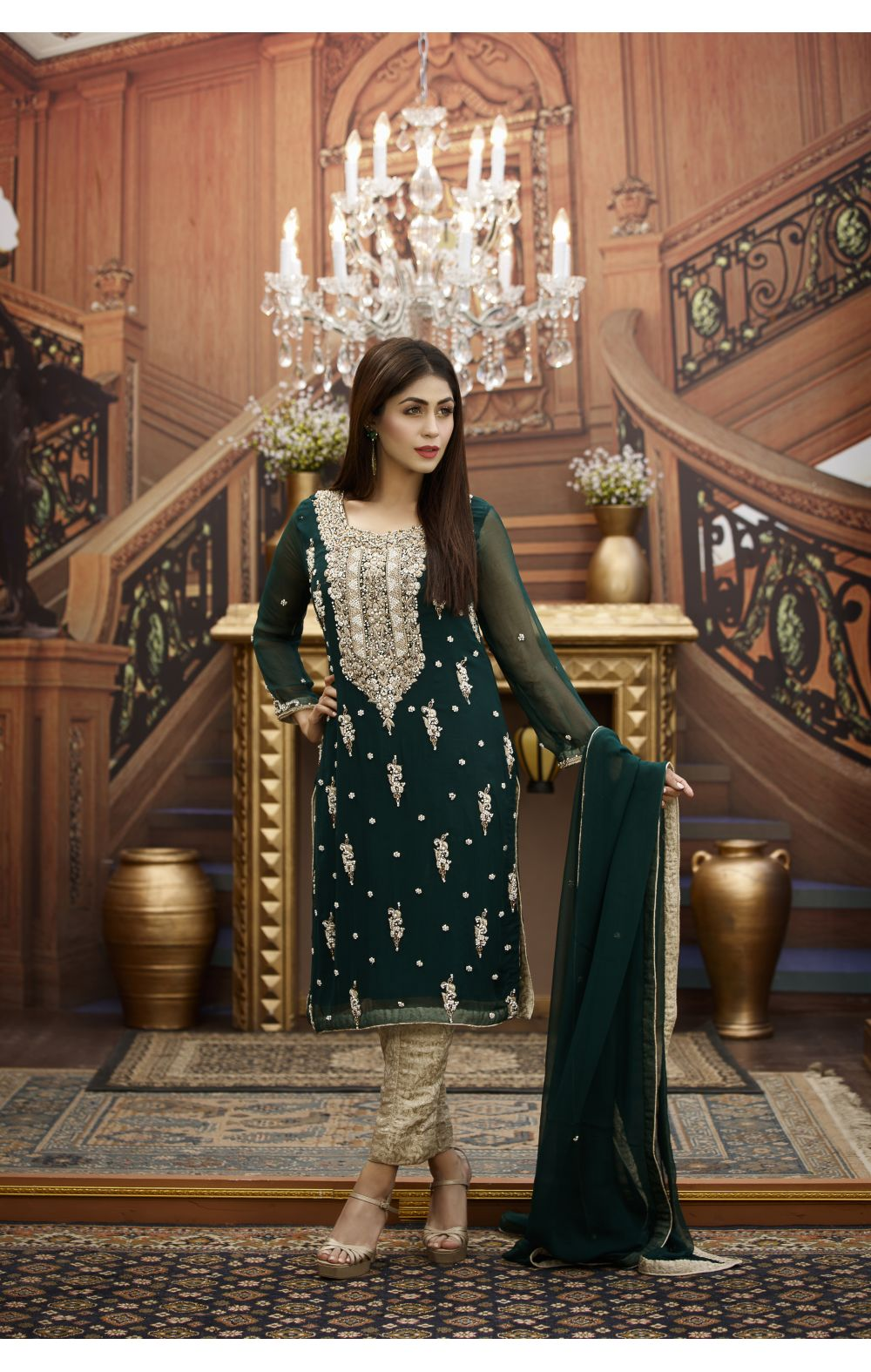 Buy Exclusive Bottle Green And Golden Bridal Wear – G16468 Online In USA, Uk & Pakistan - 01