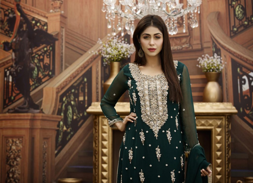 Buy Exclusive Bottle Green And Golden Bridal Wear – G16468 Online In USA, Uk & Pakistan - 03