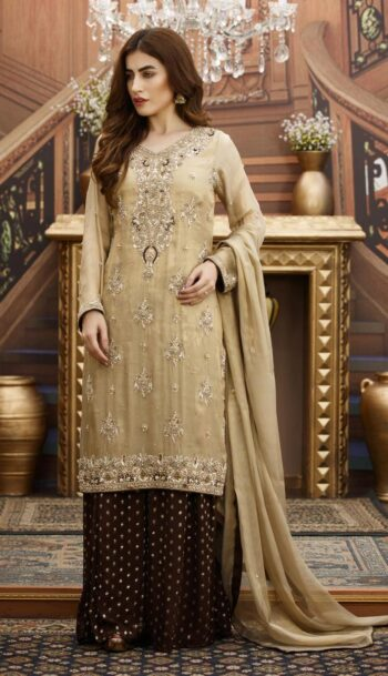 Buy Exclusive Golden And Brown Bridal Wear – G16532 Online In USA, Uk & Pakistan