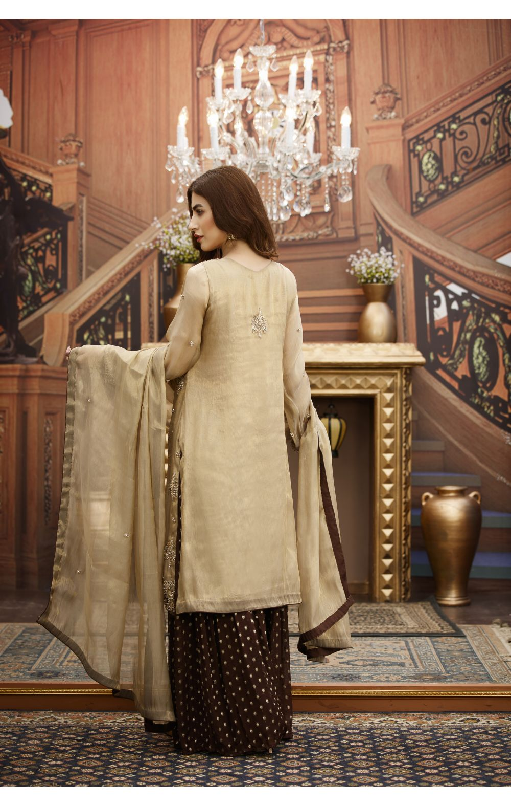 Buy Exclusive Golden And Brown Bridal Wear – G16532 Online In USA, Uk & Pakistan - 01