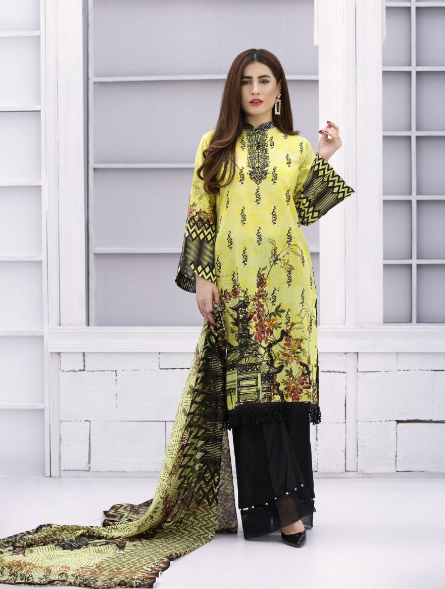 8f4766b270 EXCLUSIVE YELLOW AND BLACK LAWN DRESS - SACL08 - Exclusive Online ...