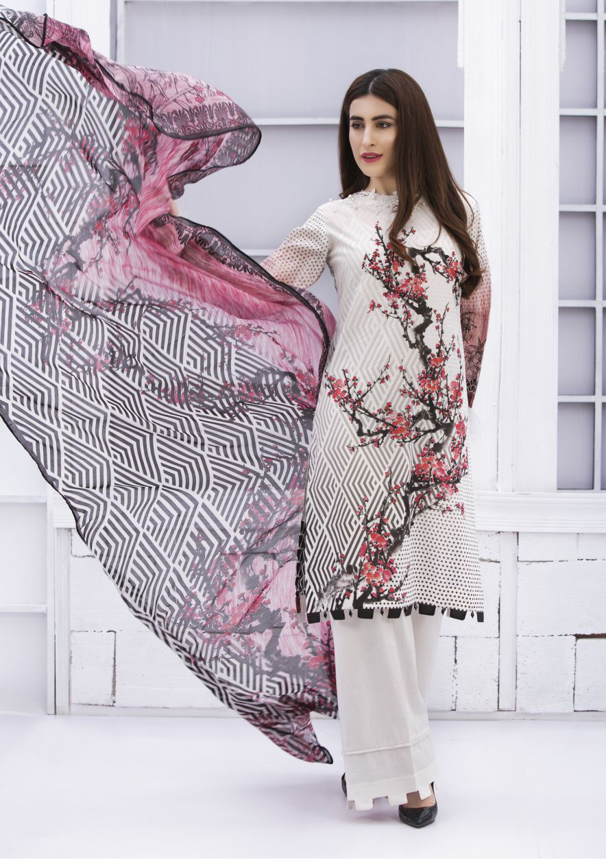 1b346ed111 EXCLUSIVE OFF WHITE AND PINK LAWN DRESS - SACL09 - Exclusive Online ...