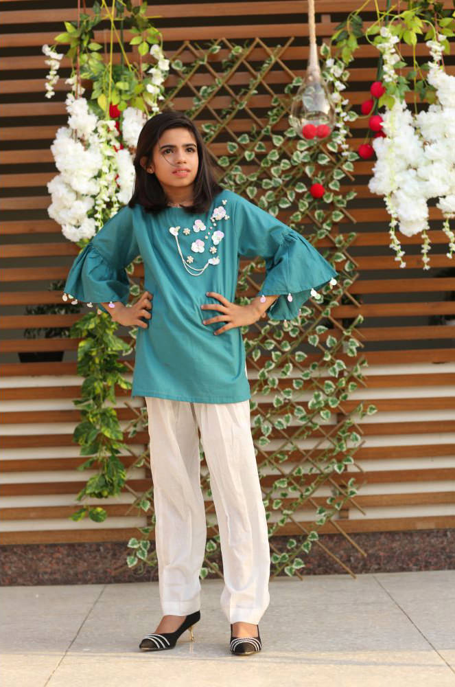 0c97c9adaa03 EXCLUSIVE SEA GREEN AND WHITE GIRLS DRESS - CZZC206 - Exclusive ...