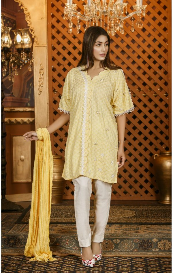 Buy Exclusive Lemon And White Casual Wear – Sac2282 Online In USA, Uk & Pakistan