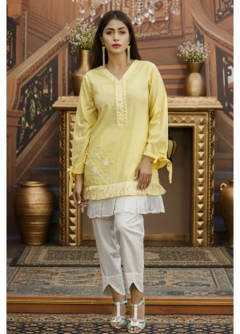 Yellow Pakistani Casual Dress