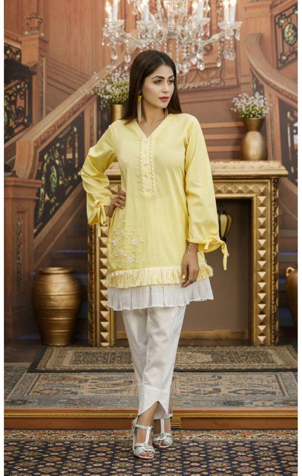 Yellow Pakistani Casual Dress