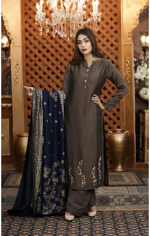 Buy Exclusive Charcoal Grey Luxury Pret – Sds82 Online In USA, Uk & Pakistan - 02