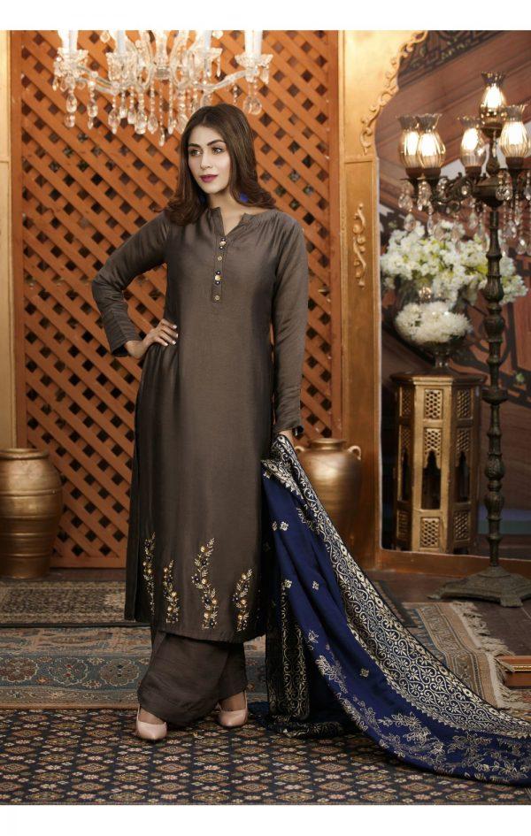 Buy Exclusive Charcoal Grey Luxury Pret – Sds82 Online In USA, Uk & Pakistan