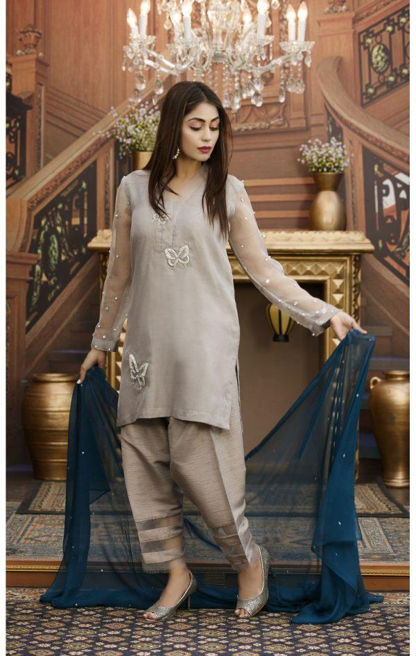 Buy Exclusive Grey Partywear – Sds93 Online In USA, Uk & Pakistan - 02